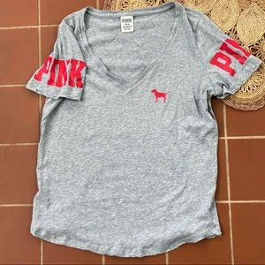 VS Pink Gray Vneck Distressed Tshirt
